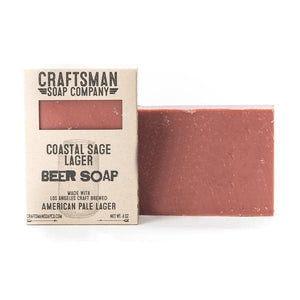 By Craftsman Soap Co. Coastal Sage Lager Beer Soap Ingredients: Coconut Oil, Olive Oil, Shea Butter, Beer, Lye, Castor Oil, Cocoa Butter, Fragrance*, Rosemary Leaf Extract. Crafted exclusively with essential oils.  Net weight 4 oz | 113 grams. Also available in store at FOLD Gallery in DTLA.