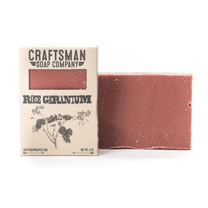 By Craftsman Soap Co. Handcrafted Vegan Rose Geranium Soap. Net weight 4 oz | 113 grams. Also available in store at FOLD Gallery DTLA.