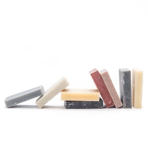 By Craftsman Soap Co. Each boxed Handmade Bar Soap Sampler set contains varieties as listed below: Rose Geranium - Activated Charcoal - French Lavender - Peppermint Lemon Pine - Sea Clay Eucalyptus - Citrus Zest - Rough Stuff - Mountain Sage. Measures approximately 4 x 2.5 x 2 inches.