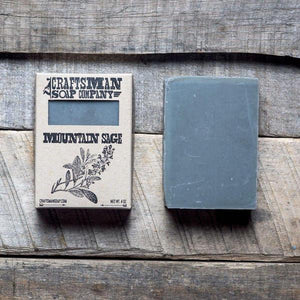 By Craftsman Soap Co. Handcrafted Vegan Mountain Sage Soap. Net weight 4 oz | 113 grams. Also available in store at FOLD Gallery DTLA.