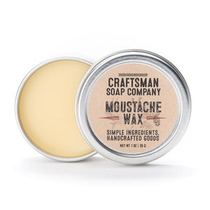 By Craftsman Soap Co. Mustache Wax: Made from a blend of all-natural and extremely sticky waxes, rosin, and oil, this moustache wax is designed to help you put your lip cap in its place. Ingredients: Beeswax, Pine Rosin, Cocoa Butter, Argan Oil. Net weight one ounce. Also available in store at FOLD Gallery DTLA.