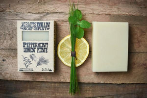 By Craftsman Soap Co. Peppermint Lemon Pine Soap. Handcrafted and vegan. Net weight 4 oz | 113 grams. Also available in store at FOLD Gallery DTLA.