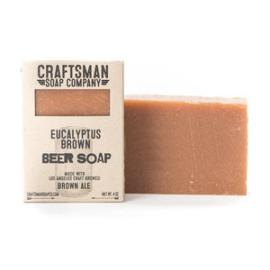 By Craftsman Soap Co. Eucalyptus Brown Beer Soap Ingredients: Coconut Oil, Olive Oil, Shea Butter, Beer, Lye, Castor Oil, Cocoa Butter, Fragrance, Rosemary Leaf Extract. Crafted exclusively with essential oils. Net weight 4 oz | 113 grams
