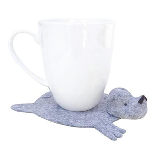 By Dandyrions. This listing is for one Handmade Felt Bear Coaster and you can choose from seven colors: Heather Gray, Blue Gray, White, Oatmeal, Tan, Copper and Dark Brown. Measures 6 x 4.5 inches and can sit a cup/glass with up to a 3.5 inch diameter base.