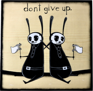 Don't give up, 2020  Original Mixed Media Artwork by Walt Hall  Each Panel Measures 9.25 x 9.25 x .75 inches.   Medium: Acrylic Paint & Mixed Media on Found Wood