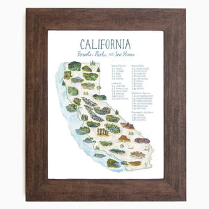 By Erin Vaughan. This California Parks Map Checklist Illustration print features charted forests, landmarks, national parks, state parks/reserves, monuments + seashores and are original hand painted illustrations by the artist. Also available in store at FOLD Gallery in DTLA.