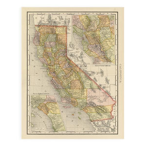 By FOLD Gallery. Antique California Map Print comes in a plastic sleeve with cardboard backing. Please note that due to everyone's monitor displaying differently, the colors you see may vary. Measures 11 x 14 inches.