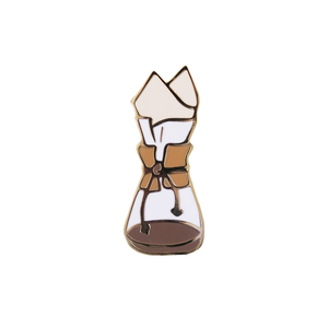 By Honey & Brie Design. For those who agree that coffee is not just about the caffeine, we've got something for you - This Coffee Brewer Pin. Hard enamel, gold plated. Perfect match for your barista apron. Measures 1.5 x 0.5 inch.