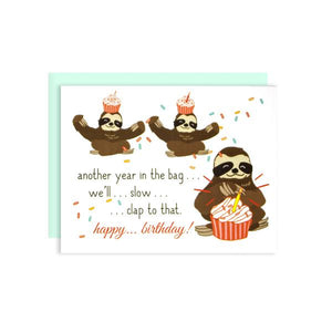 By Ilootpaperie. The Birthday Slow Clap Sloth Card is printed on 100lb cardstock with subtle embossed soft white linen finish. Blank inside for a personal message. High quality envelope with square flap included. Folded card measures 4.25 x 5.5 inches.
