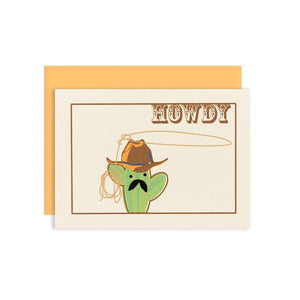 "By Ilootpaperie. This folded Cactus Howdy Card is printed on premium, rich and luxurious cream 100lb cardstock. Inside text ""pardner"" - remaining is blank for a personal message. High quality, melon orange envelope with square flap included. Measures 4.25 x 5.5 inches. Also available in store at FOLD Gallery in DTLA."