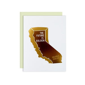 By Ilootpaperie. The Future is Golden California Card. This folded card is printed on premium cream linen textured 100lb cardstock with Two Tone Gold Foil detailing. Blank inside for a personal message. High quality, mint envelope with square flap included. Measures 4.25 x 5.5 inches. Also available in store at FOLD Gallery DTLA.