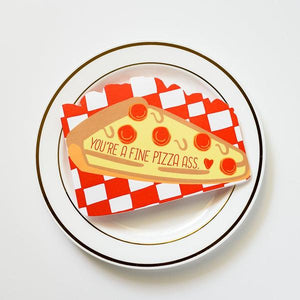 By Ilootpaperie. You're a Fine Pizza Ass Die Cut Card. This die cut folded card is Indigo Press printed on premium white linen textured 100lb cardstock. Cheeky pie-shaped slice of stationery goodness. High quality, red envelope with square flap included. Measures 4.25 x 5.5 inches. FOLD Gallery Dtla.