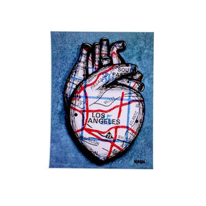 By Jennifer Korsen. L.A. Heart Blue Sticker measures 3 x 4 inches. Also available in store at FOLD Gallery DTLA.