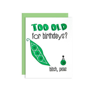 by Kiss and Punch Designs by Julie Stewart. C'mon, everyone loves birthdays! Get this punny Cute Peas Over the Hill Birthday Card for your friend who's just not feelin' it. A2 bright green envelope. Individually wrapped in a cellophane sleeve. Card is blank inside. Also available in store at FOLD Gallery in DTLA.