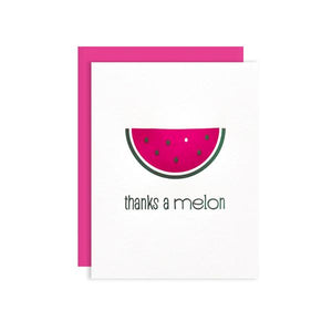 by Kiss and Punch Designs by Julie Stewart. Thanks a Melon Card. A fun foodie watermelon thank you card to show your gratitude. Printed on Crane Lettra 110 lb. paper. Black & hot pink letterpress. A2 Razzleberry envelope. All cards are blank inside for you to leave your own personal message. Measures 4.25 x 5.5 Inches. Also available in store at FOLD Gallery DTLA.