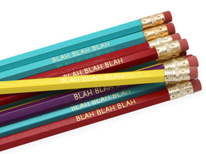 by LZ Pencils. Listing is for one 'Blah Blah Blah' Pencil. All type is set by hand and lovingly hand-pressed onto each and every pencil. Pencils write in standard #2 gray graphite, perfect for gifting. PLEASE NOTE COLORS ARE RANDOM AND WILL VARY FROM WHAT IS PICTURED.