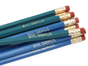 by LZ Pencils. Listing is for one Evil Genius Pencil. All type is set by hand and lovingly hand-pressed onto each and every pencil. Pencils write in standard #2 gray graphite, perfect for gifting. PLEASE NOTE COLORS ARE RANDOM AND WILL VARY FROM WHAT IS PICTURED.