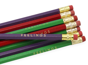 by LZ Pencils  Listing is for one 'FEELINGS' pencil.  All type is set by hand and lovingly hand-pressed onto each and every pencil.  Pencils write in standard #2 gray graphite, perfect for gifting.  PLEASE NOTE COLORS ARE RANDOM AND WILL VARY FROM WHAT IS PICTURED.