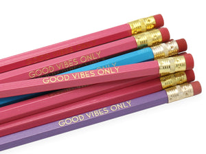 by LZ Pencils  Listing is for one 'GOOD VIBES ONLY' pencil.  All type is set by hand and lovingly hand-pressed onto each and every pencil.  Pencils write in standard #2 gray graphite, perfect for gifting.  PLEASE NOTE COLORS ARE RANDOM AND WILL VARY FROM WHAT IS PICTURED.
