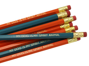 by LZ Pencils. Listing is for one My Dog is My Spirit Animal Pencil. All type is set by hand and lovingly hand-pressed onto each and every pencil. Pencils write in standard #2 gray graphite, perfect for gifting. PLEASE NOTE COLORS ARE RANDOM AND WILL VARY FROM WHAT IS PICTURED.
