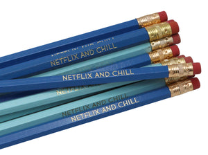 by LZ Pencils. Listing is for one Netflix and Chill Pencil. All type is set by hand and lovingly hand-pressed onto each and every pencil. Pencils write in standard #2 gray graphite, perfect for gifting. PLEASE NOTE COLORS ARE RANDOM AND WILL VARY FROM WHAT IS PICTURED.