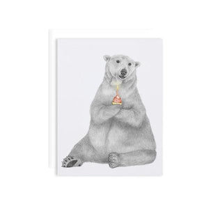 By Lecanotrouge. Hudson Churchill Polar Bear Card: Blank inside. Proudly made in the USA. Measures 5 x 7 inches. Please note that due to everyone's monitor displaying differently, the colors you see may vary. Story text is written on the back of card. Also available in store at FOLD Gallery DTLA.