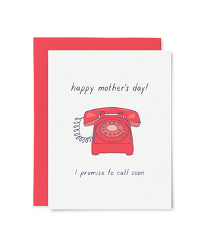 "By Little Goat Paper Co. Go ahead and give your mom a call. It will make her day. Call Your Mom Card details: Blank inside for your personal message. Flat printed. A2 folded card, 4 1/4"" x 5 1/2"". 110lb felted paper. Clear plastic sleeve packaging."