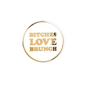 By Little Arrow. Bitches Love Brunch Lapel Pin features: Cloisonné hard enamel set in 22kt plated gold and dual pins with rubber backs. Measures 1.25 x 1.25 inches.