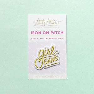 by Little Arrow. Girl Gang Patch. Iron-on backing. Patch measures 1.5 x 2 inches.