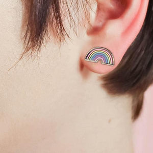 By Little Arrow. Pastel Tiny Rainbows Stud Earrings. Super cute tiny studs! The perfect pastel palette. Cloisonné hard enamel set in 22kt plated gold with hypoallergenic posts with comfort backs. Measures 0.5 x 0.5 inches. Also available in store at FOLD Gallery DTLA.