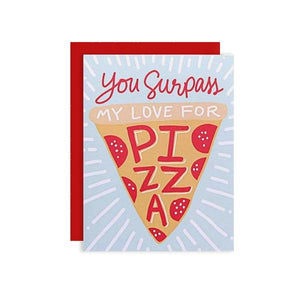 By Little Arrow. This folded Pizza My Heart Card comes with a blank interior and matching envelope. Printed full color on thick white cover paper. Made in the USA. Measures 4 1/4 x 5 1/2 inches. Also available in store at FOLD Gallery DTLA.