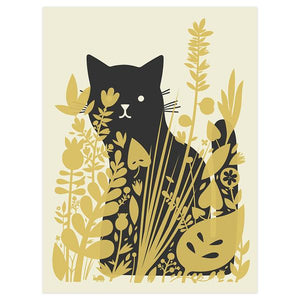 By Little Friends of Printmaking. Cat Behind Plants Silkscreen Print. SUPER-GLITTERY metallic gold ink sets off a fun minimalist design. Measures 8 x 10 inches. Also available in store at FOLD Gallery in DTLA.
