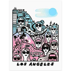 By Little Friends of Printmaking. Los Angeles Sunglasses Silkscreen Print. Measures 8x10 inches. Also available in store at FOLD Gallery DTLA.