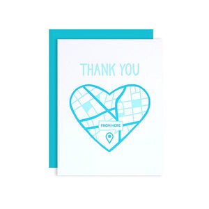 By Loudhouse Creative. Bottom of My Heart Thank You Card features: two-color letterpress printing, hand-drawn illustrations, 100% brilliant white cotton paper, blank inside, aqua envelope, cello sleeve packaging. Hand-printed on an antique letterpress in Los Angeles, California. Also available in store at FOLD Gallery in DTLA.