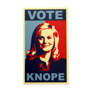 By Loudmouth Pin Co. This listing is for 1 Vote Knope Sticker. Measures approximately 3 x 1.5 inches. FOLD Gallery Dtla.