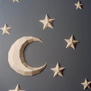 by Low Poly Craft. Moon and Stars Kit Kit details: Unlike many (if not all) products out there, this is an actual kit that includes pre-cut, pre-scored and pre-numbered for assembly pieces.Moon and Stars kit contains: 1 Crescent Moon plus 12 stars in a variety of sizes. Assembly Difficulty Level: 1/5 - Easy.