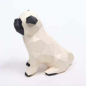 by Low Poly Craft. Pug Kit details: Unlike many (if not all) products out there, this is an actual kit that includes pre-cut, pre-scored and pre-numbered for assembly pieces. Full Assembled Sizing: Height: 25 cm/Width: 15 cm/Depth: 23 cm. Assembly Difficulty Level: 3/5 - Medium.