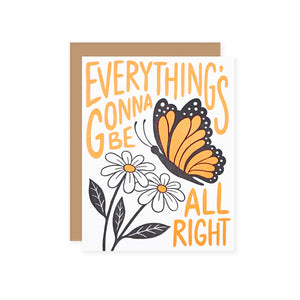 "by Lucky Horse Press. Everything's Gonna Be All Right Card details: Letterpress printed. 100 lb. recycled cover. 4.25"" × 5.5"" folded card. Blank inside. Matching envelope. Please note that due to everyone's monitor displaying differently, the colors you see may vary."