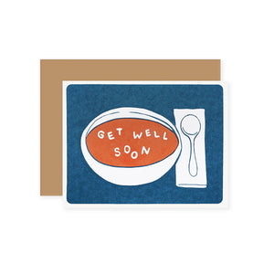 "by Lucky Horse Press. Get Well Soon Soup Card details: Letterpress printed 100 lb. Recycled cover. Blank inside. Matching envelopes. 4.25"" × 5.5"" folded card. Please note that due to everyone's monitor displaying differently, the colors you see may vary."