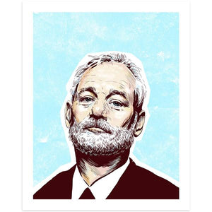 By Lucky Jackson. Bill Murray print is printed on heavy 100lb white card stock with white border. Signed on the back by artist. Colors may slightly vary due the variable color settings on monitors, laptops, tablets and smart phones. Print comes in polypropylene sleeve. Measures 8.5 x 11 inches. FOLD Gallery Dtla.