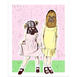 By Lucky Jackson. Chewy & Vader Print illustration is printed on heavy 100lb white card stock with white border. Signed on the back by artist. Print comes in polypropylene sleeve. Measures 8.5 x 11 inches. Also available in store at FOLD Gallery in DTLA.