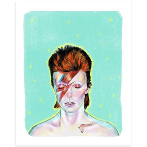 By Lucky Jackson. David Bowie Ziggy Stardust Print features: Illustration is printed on heavy 100lb white card stock with white border. Signed on the back by artist. Print comes in polypropylene sleeve. Measures 8.5 x 11 inches.