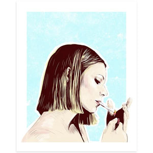 By Lucky Jackson. Margot Smoking Print: Illustration is printed on heavy 100lb white card stock with white border. Signed on the back by artist. Colors may slightly vary due the variable color settings on monitors, laptops, tablets and smart phones. Print comes in polypropylene sleeve. Measures 8.5 x 11 inches. Also available in store at FOLD Gallery DTLA.