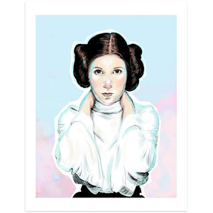 By Lucky Jackson. Princess Leia Print: Illustration is printed on heavy 100lb white card stock with white border. Signed on the back by artist. Colors may slightly vary due the variable color settings on monitors, laptops, tablets and smart phones. Print comes in polypropylene sleeve. Measures 8.5 x 11 inches.