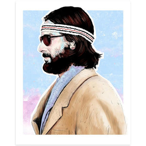 By Lucky Jackson. Richie Tenenbaum Print: Illustration is printed on heavy 100lb white card stock with white border. Signed on the back by artist. Colors may slightly vary due the variable color settings on monitors, laptops, tablets and smart phones. Print comes in polypropylene sleeve. Measures 8.5 x 11 inches.