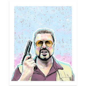By Lucky Jackson. Walter the Big Lebowski Print. Illustration is printed on heavy 100lb white card stock with white border. Signed on back by artist. Colors may slightly vary due the variable color settings on monitors, laptops, tablets and smart phones. Print comes in polypropylene sleeve. Measures 8.5 x 11 inches. Also available in store at FOLD Gallery DTLA.