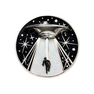 Alien Abduction Jumbo Action Pin by Maiden Voyage Clothing Co. sold at FOLD Gallery