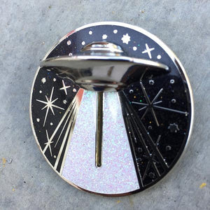 Alien Abduction Jumbo Action Pin by Maiden Voyage Clothing Co. available at FOLD Gallery