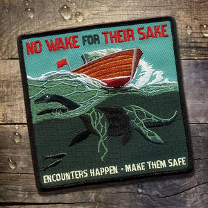 By Maiden Voyage Clothing Co. Part of a Safe Encounters Series, the Boat Safety PSA Patch warns mariners to watch their speed over waterways for the safety and preservation of unseen creatures like the legendary Loch Ness Monster. Measures 4x4 inches. Iron on. Sewing Recommended.