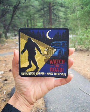 By Maiden Voyage Clothing Co. Part of a Safe Encounters Series, the Road Safety Patch warns motorists to watch the road for the safety and preservation of unseen creatures like the legendary Sasquatch. This Cryptozoology Tracking Society patch is reminiscent of the old fashioned National Park patches. Also available in store at FOLD Gallery DTLA.